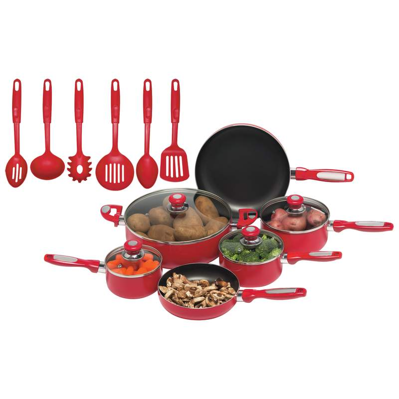 Chef's Secret 16pc Red Aluminum Cookware Set