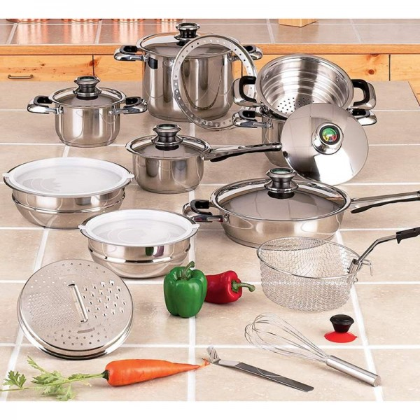"""Chef's Secret 22pc 12-Element Super Set with Surgical Stainless Steel and Extra Large 11"""" Fry Pan"""