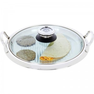 Chef's Secret by Maxam 12-Element High-Quality Stainless Steel Round Griddle with See-Thru Glass Cover