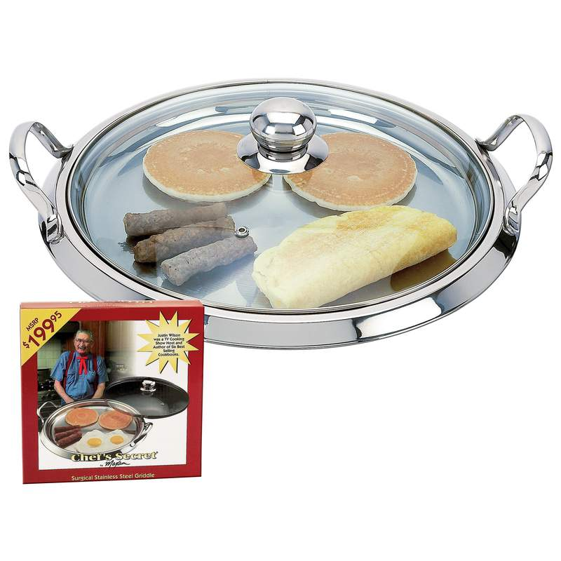 Chef's Secret by Maxam 12-Element Surgical Stainless Steel Round Griddle with See-Thru Glass Lid-KTGRID2