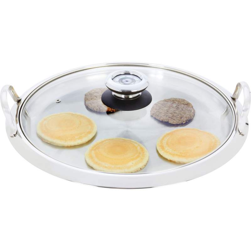 Chef's Secret. by Maxam. Large 12-Element High-Quality Stainless Steel Round Griddle with See-Thru Glass Cover