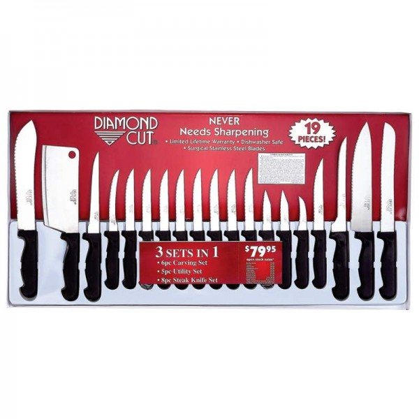 Diamond Cut 19pc Cutlery Set in White/Red Bow Box