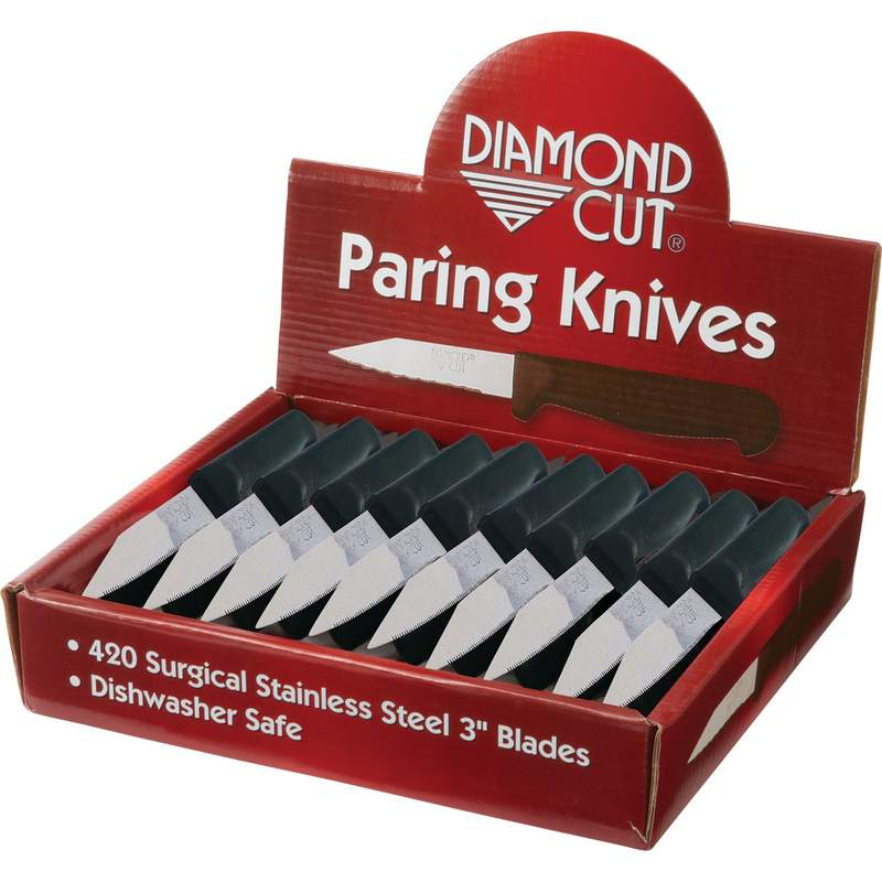 Diamond Cut 60pc Paring Knives in Countertop Display