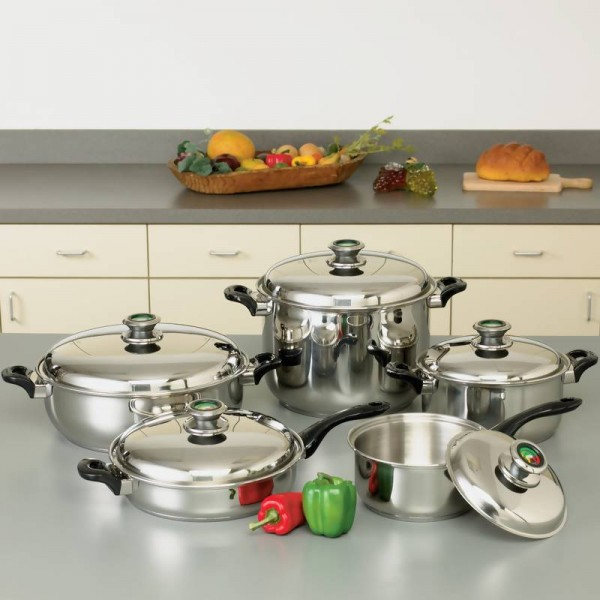 """HealthSmart 10pc 12-Element """"Waterless"""" T304 Stainless Steel Cookware Set with Thermo Control Knobs"""