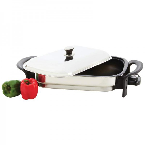 """Precise Heat 16"""" Rectangular Non-Stick T304 Stainless Steel Electric Skillet"""