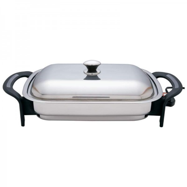 """Precise Heat 16"""" Rectangular T304 Stainless Steel Electric Skillet"""