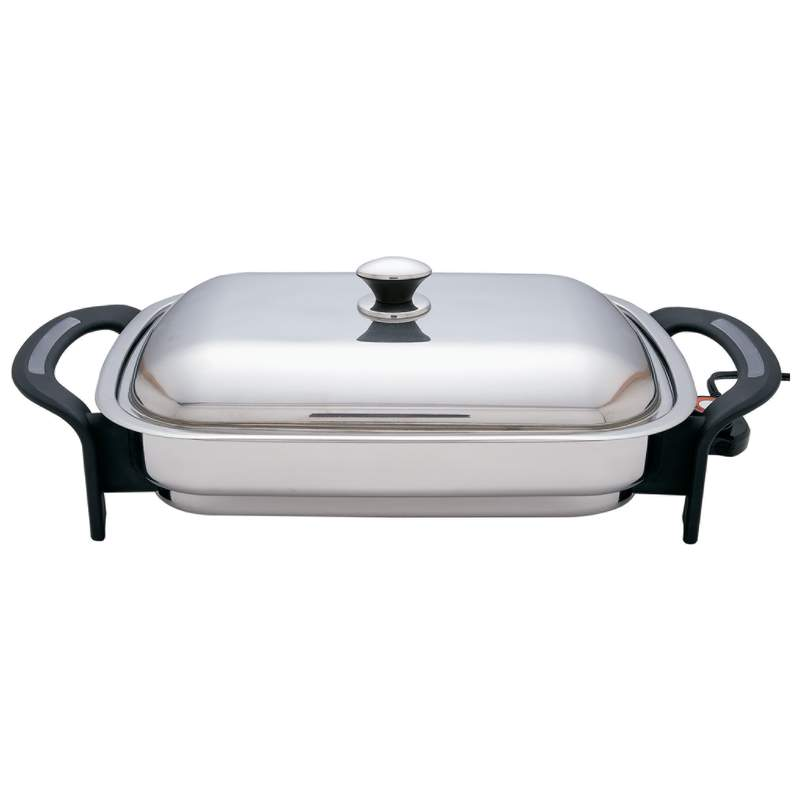 "Precise Heat 16"" Rectangular T304 Stainless Steel Electric Skillet"