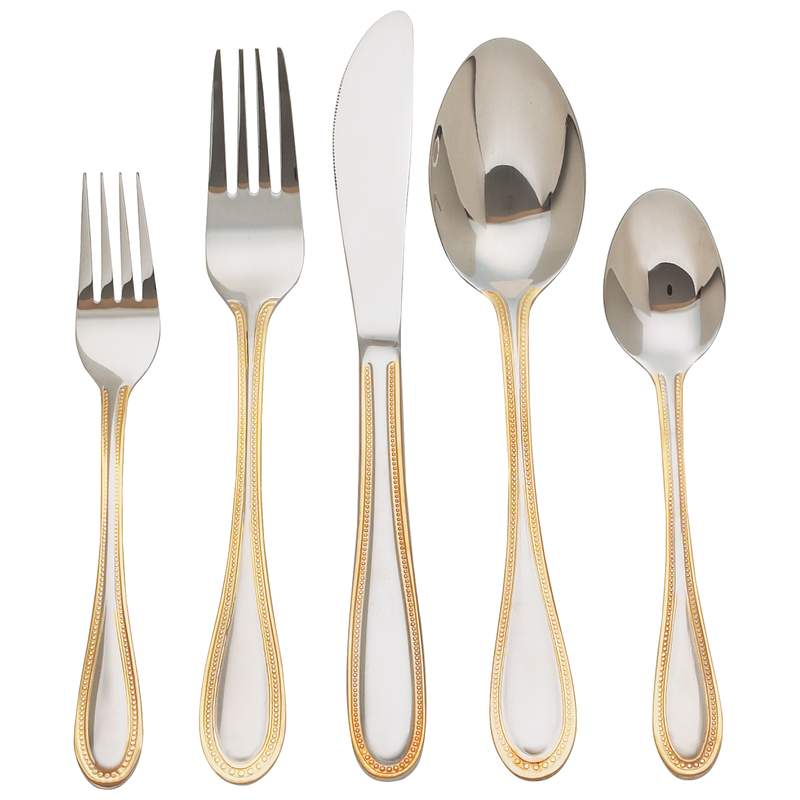 Sterlingcraft 20pc Surgical Stainless Steel Flatware Set with Gold-Plated Trim-FW20GOLD