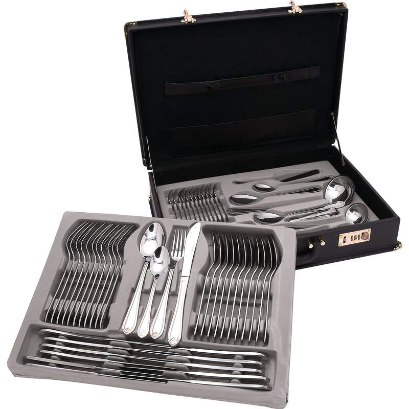 Sterlingcraft 72pc Heavy Gauge Surgical Stainless Steel Flatware and Hostess Set with 24K Gold Trim